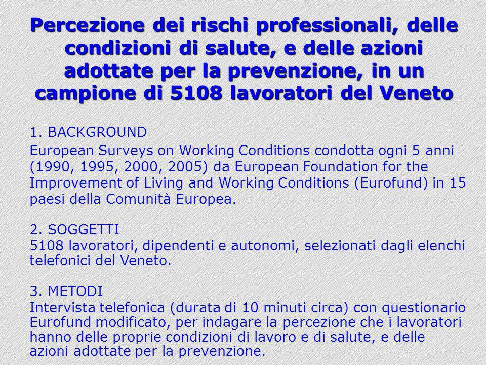 Percezione dei rischi professionali, delle condizioni di salute, e delle azioni adottate per la prevenzione, in un campione di 5108 lavoratori del Veneto