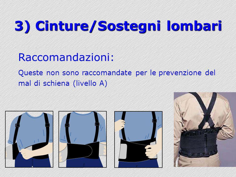 3) Cinture/Sostegni lombari