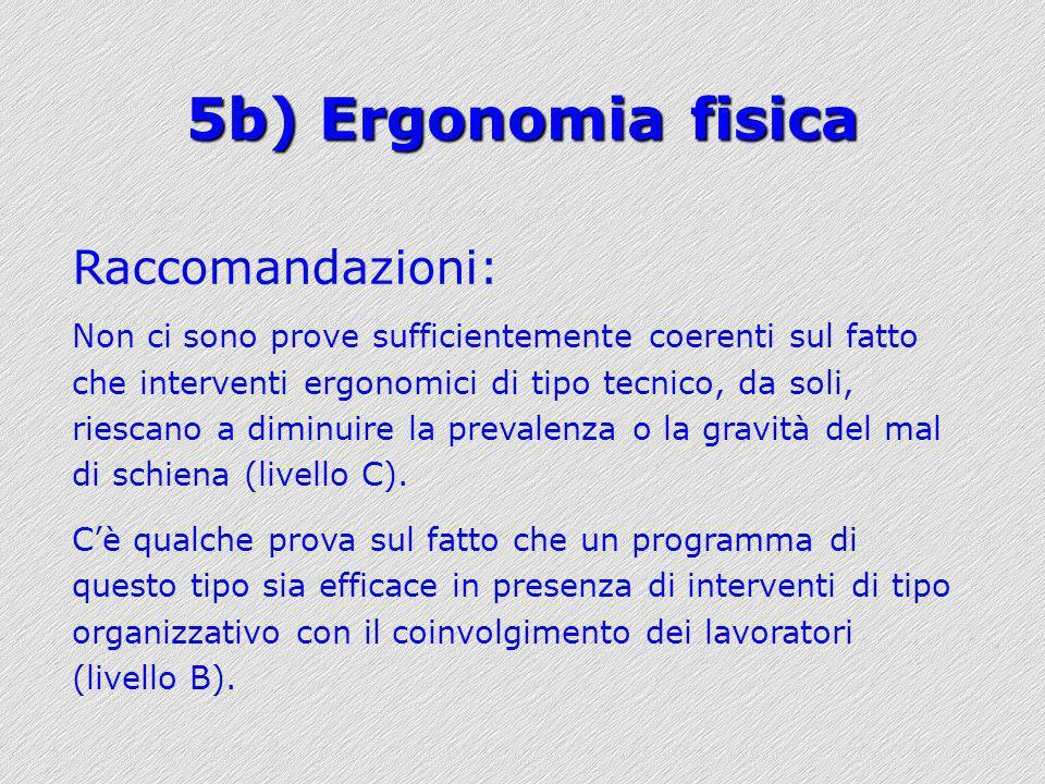 5b) Ergonomia fisica Raccomandazioni: