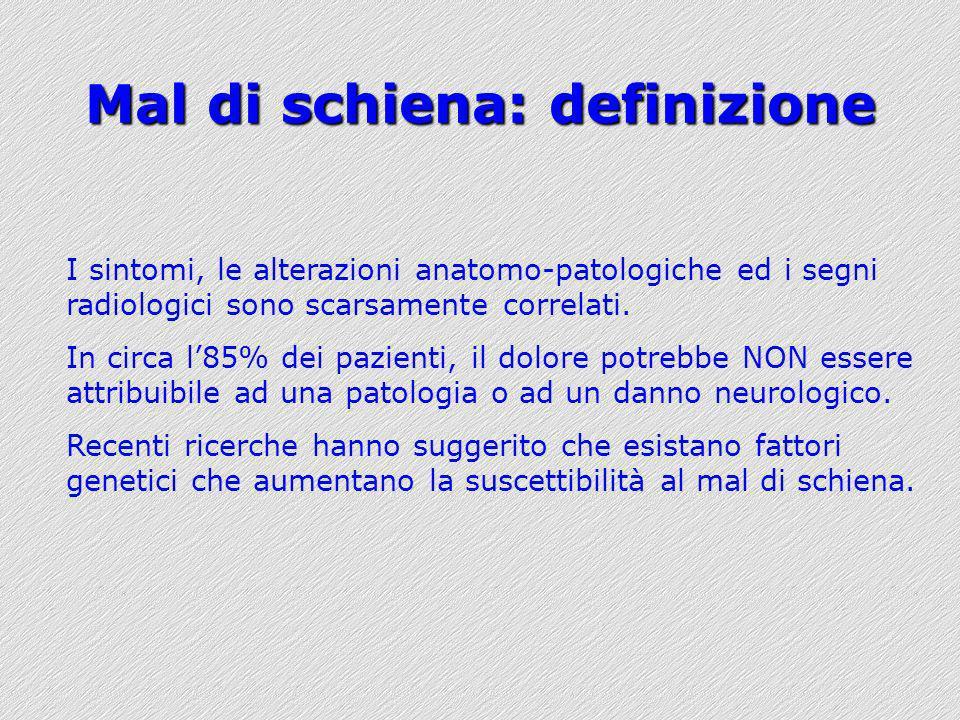 Mal di schiena: definizione