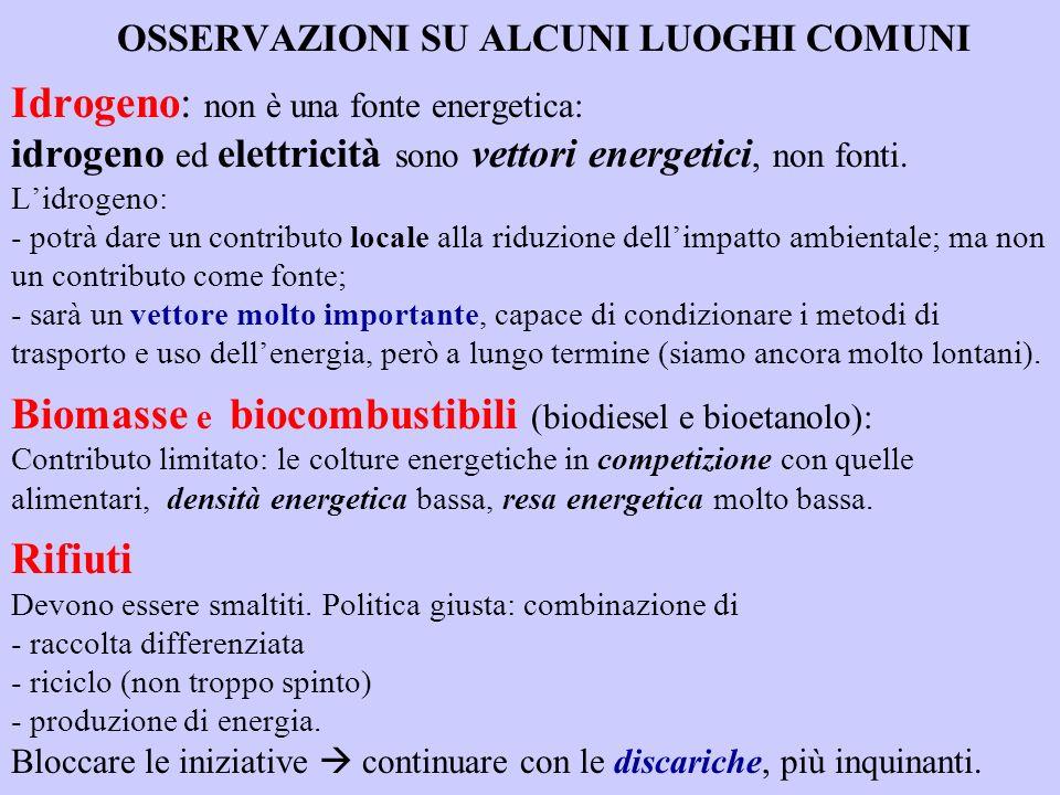 OSSERVAZIONI SU ALCUNI LUOGHI COMUNI Idrogeno: non è una fonte energetica: idrogeno ed elettricità sono vettori energetici, non fonti.