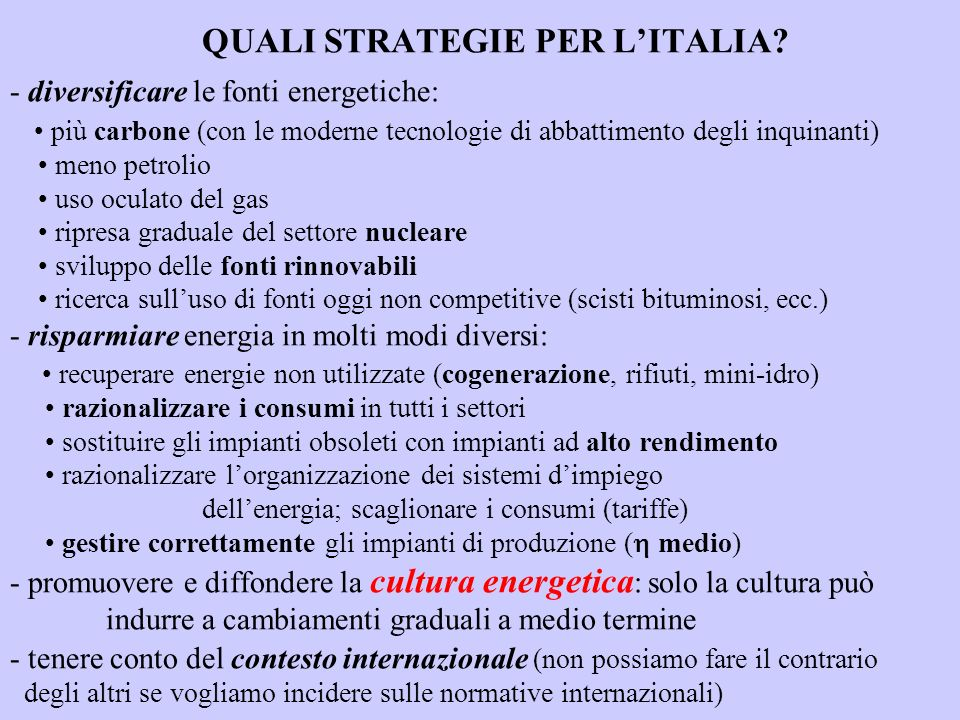 QUALI STRATEGIE PER L'ITALIA