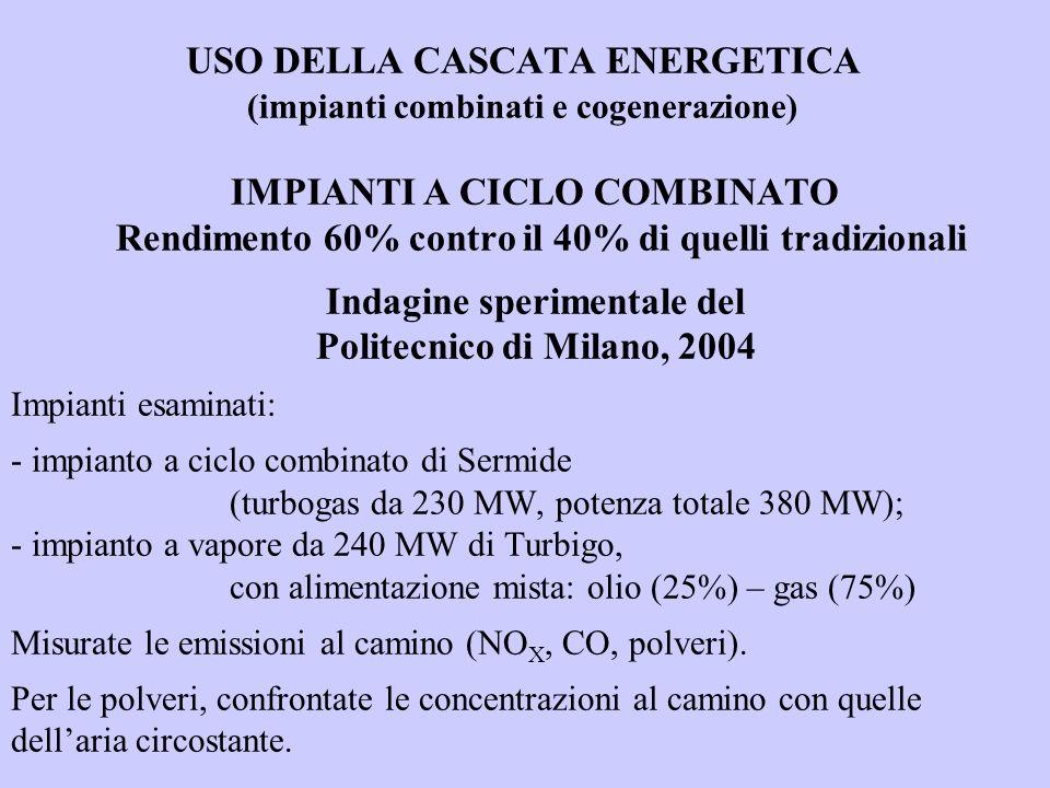 USO DELLA CASCATA ENERGETICA. (impianti combinati e cogenerazione)