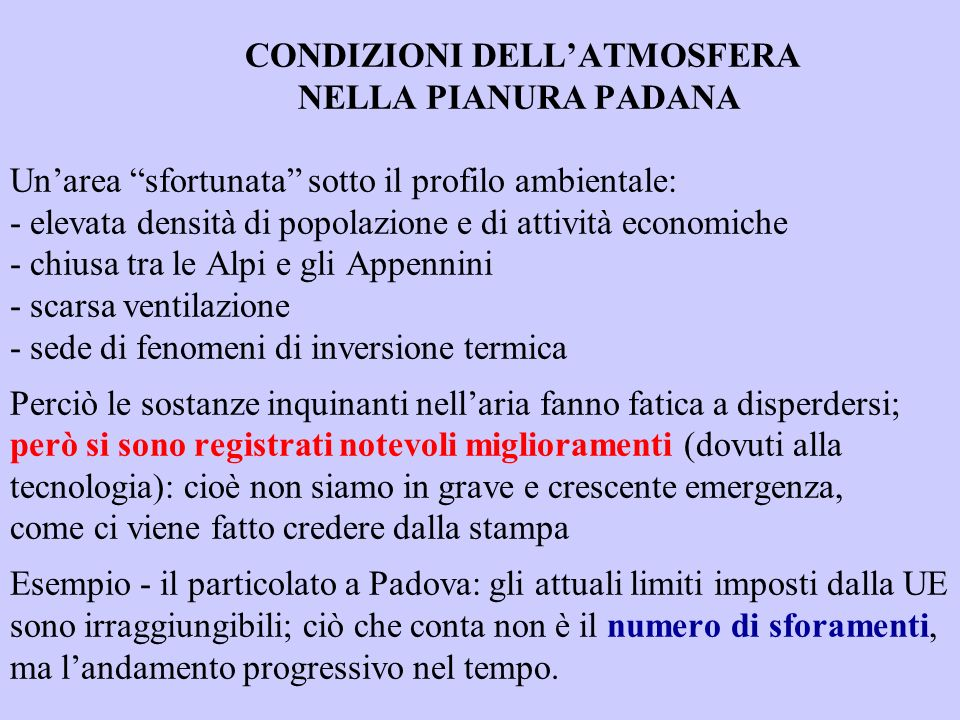 CONDIZIONI DELL'ATMOSFERA