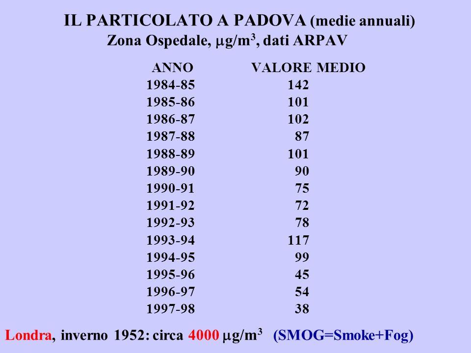 IL PARTICOLATO A PADOVA (medie annuali)