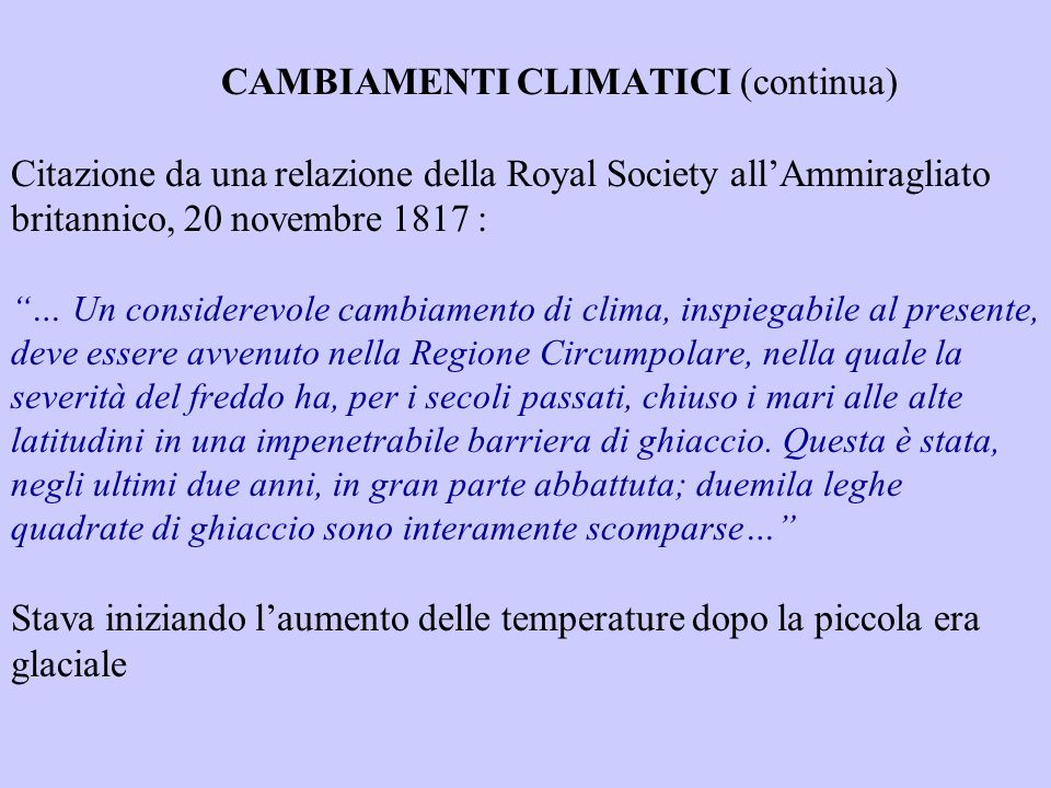 CAMBIAMENTI CLIMATICI (continua)