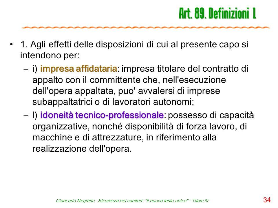 Art. 89. Definizioni 1 1. Agli effetti delle disposizioni di cui al presente capo si intendono per:
