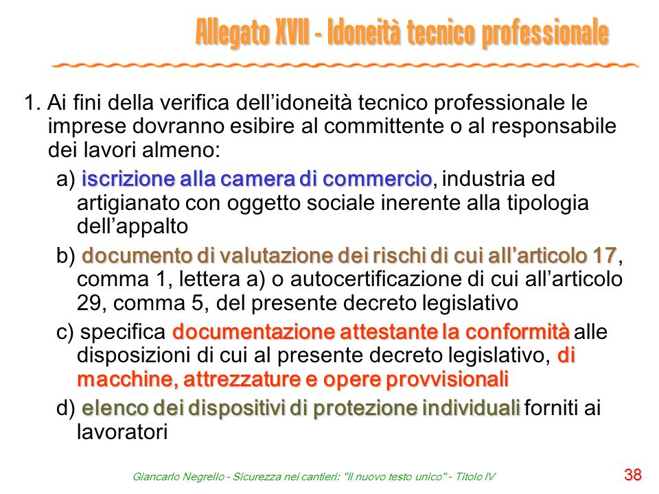 Allegato XVII - Idoneità tecnico professionale