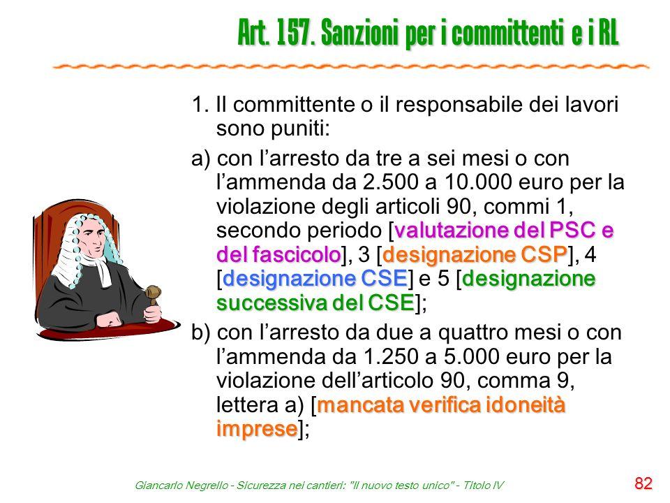Art. 157. Sanzioni per i committenti e i RL