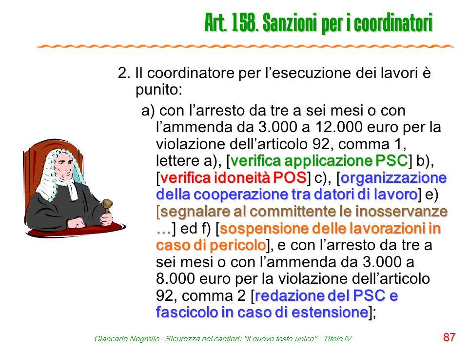 Art. 158. Sanzioni per i coordinatori