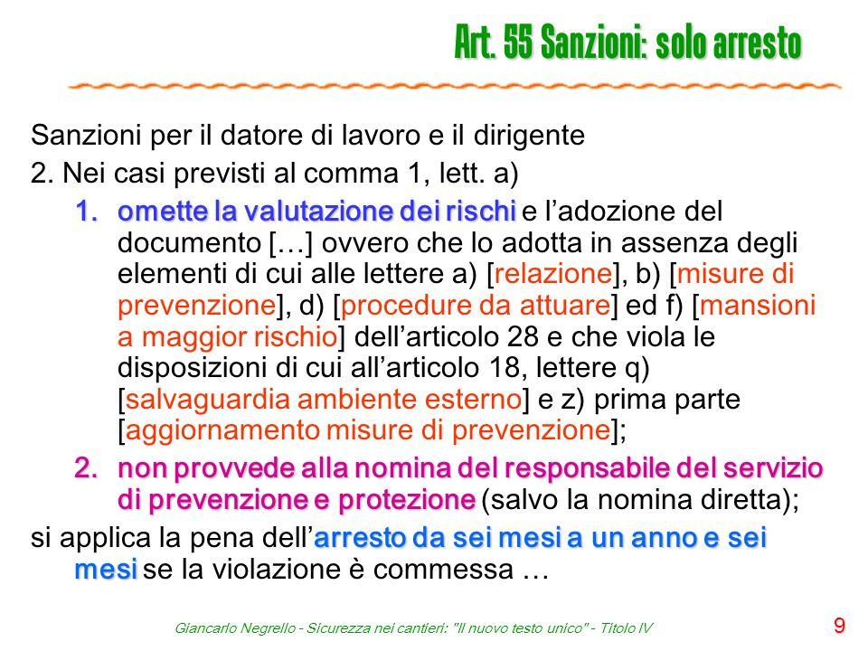 Art. 55 Sanzioni: solo arresto