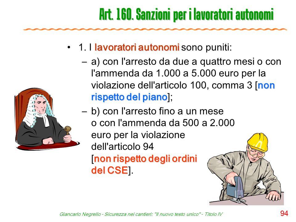 Art. 160. Sanzioni per i lavoratori autonomi