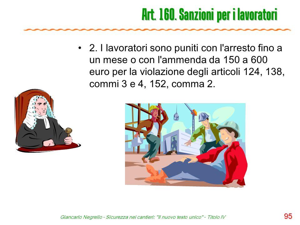 Art. 160. Sanzioni per i lavoratori