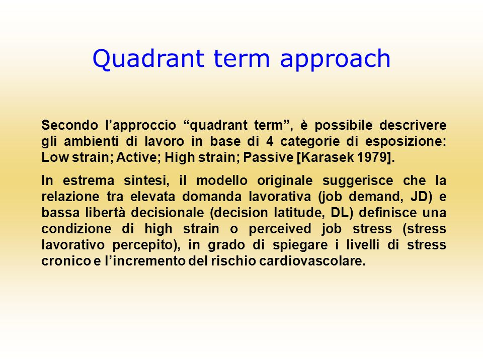Quadrant term approach