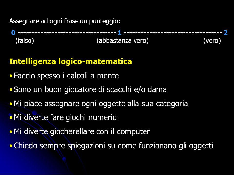 Intelligenza logico-matematica Faccio spesso i calcoli a mente