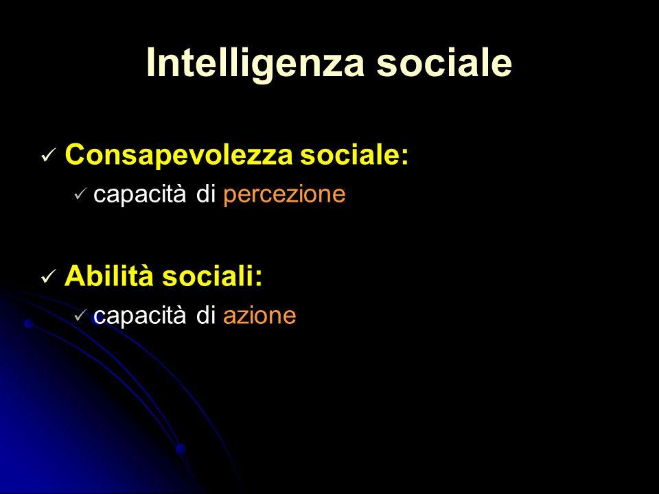 Intelligenza sociale Consapevolezza sociale: Abilità sociali: