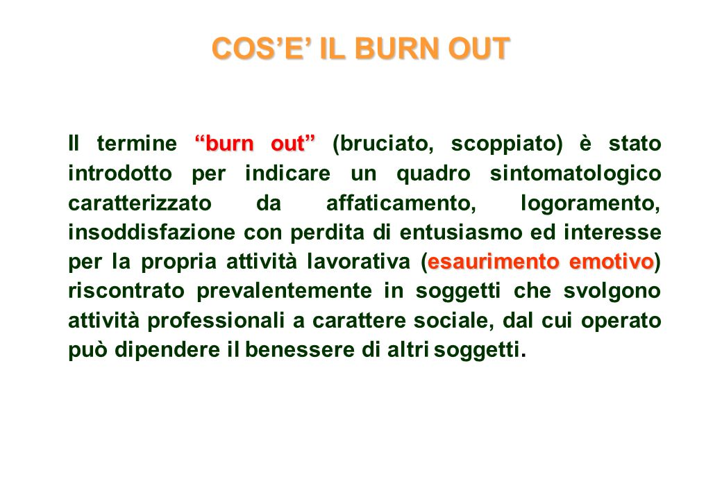 COS'E' IL BURN OUT