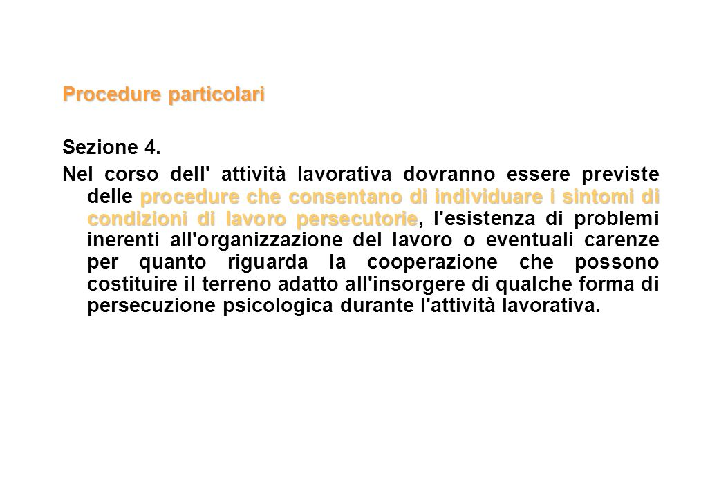 Procedure particolari