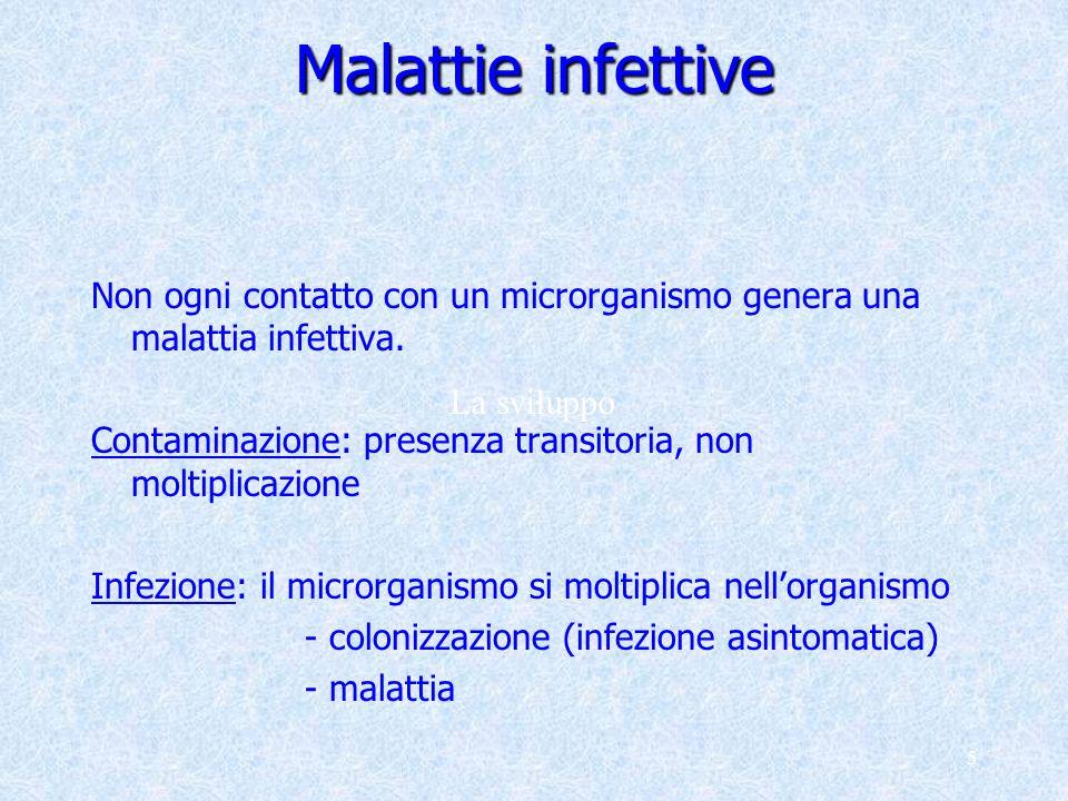 Malattie infettive Non ogni contatto con un microrganismo genera una malattia infettiva. Contaminazione: presenza transitoria, non moltiplicazione.