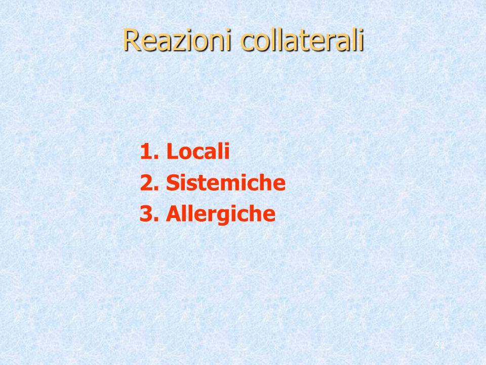 Reazioni collaterali 1. Locali 2. Sistemiche 3. Allergiche