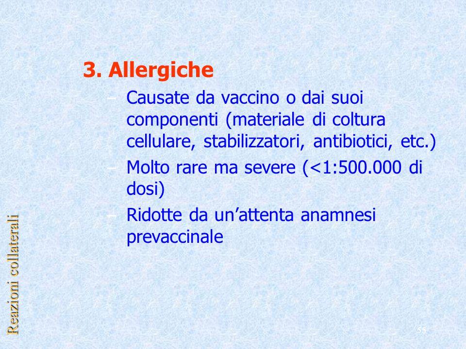 3. Allergiche Causate da vaccino o dai suoi componenti (materiale di coltura cellulare, stabilizzatori, antibiotici, etc.)