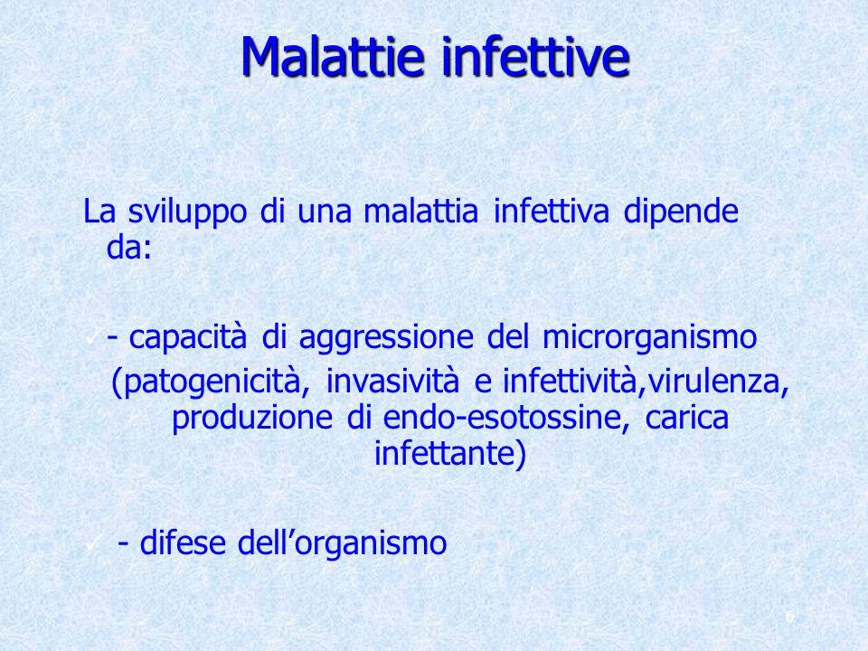 Malattie infettive La sviluppo di una malattia infettiva dipende da: