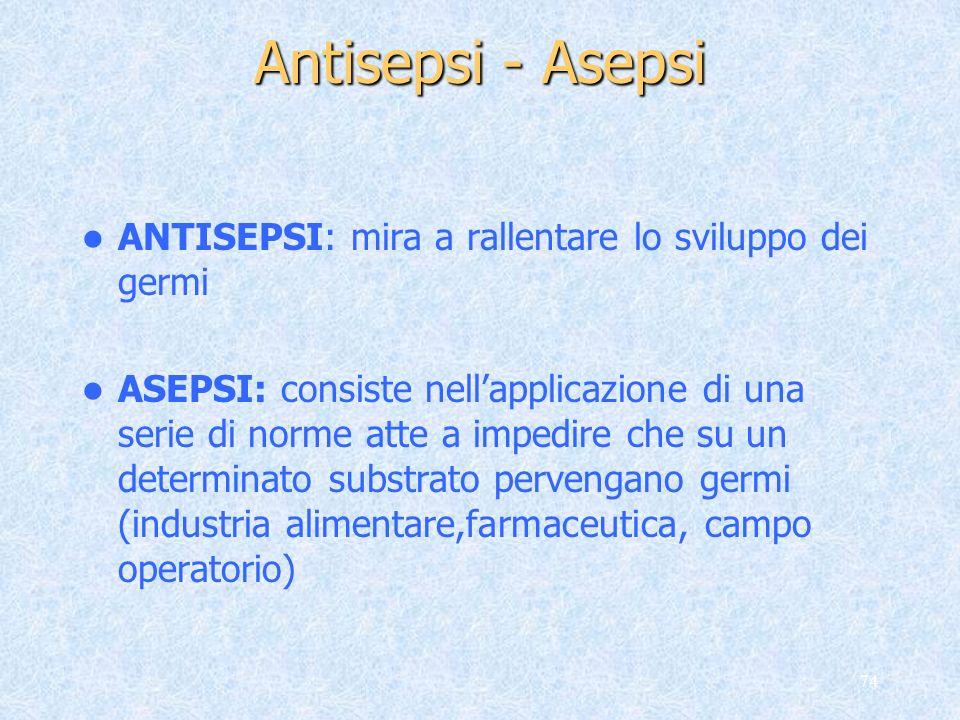 Antisepsi - Asepsi ANTISEPSI: mira a rallentare lo sviluppo dei germi