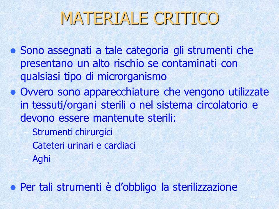 MATERIALE CRITICO Sono assegnati a tale categoria gli strumenti che presentano un alto rischio se contaminati con qualsiasi tipo di microrganismo.