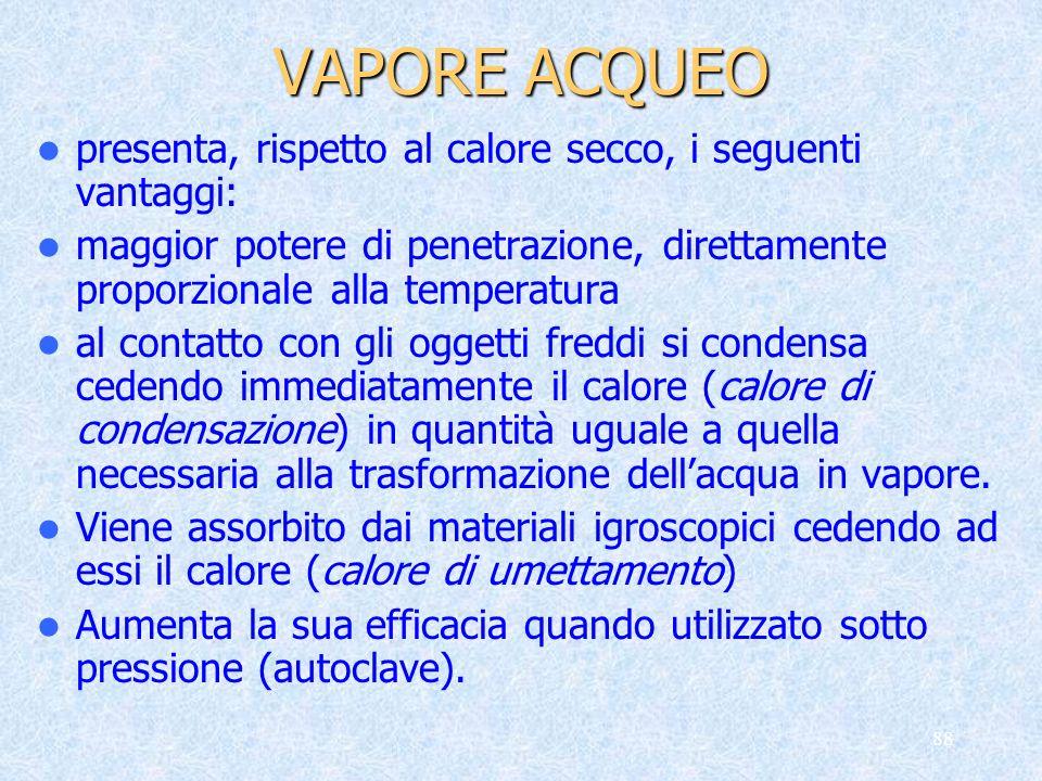 VAPORE ACQUEO presenta, rispetto al calore secco, i seguenti vantaggi: