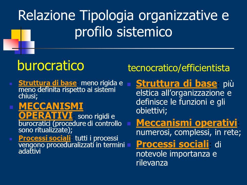 Relazione Tipologia organizzative e profilo sistemico
