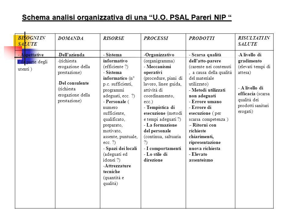 Schema analisi organizzativa di una U.O. PSAL Pareri NIP