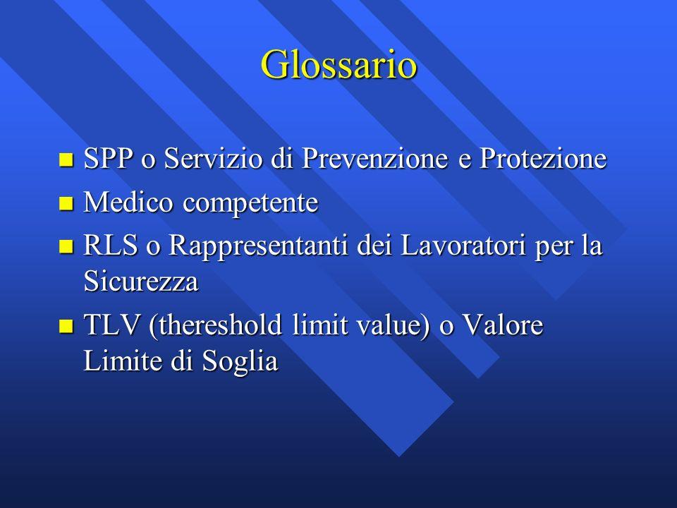 Glossario SPP o Servizio di Prevenzione e Protezione Medico competente
