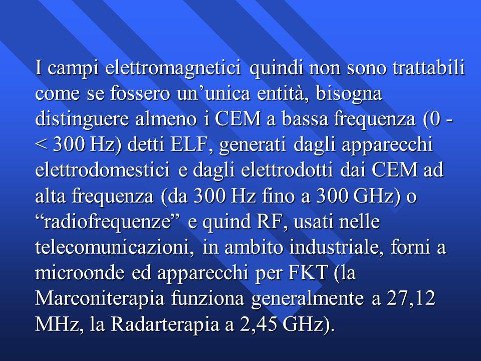 I campi elettromagnetici quindi non sono trattabili come se fossero un'unica entità, bisogna distinguere almeno i CEM a bassa frequenza (0 - < 300 Hz) detti ELF, generati dagli apparecchi elettrodomestici e dagli elettrodotti dai CEM ad alta frequenza (da 300 Hz fino a 300 GHz) o radiofrequenze e quind RF, usati nelle telecomunicazioni, in ambito industriale, forni a microonde ed apparecchi per FKT (la Marconiterapia funziona generalmente a 27,12 MHz, la Radarterapia a 2,45 GHz).