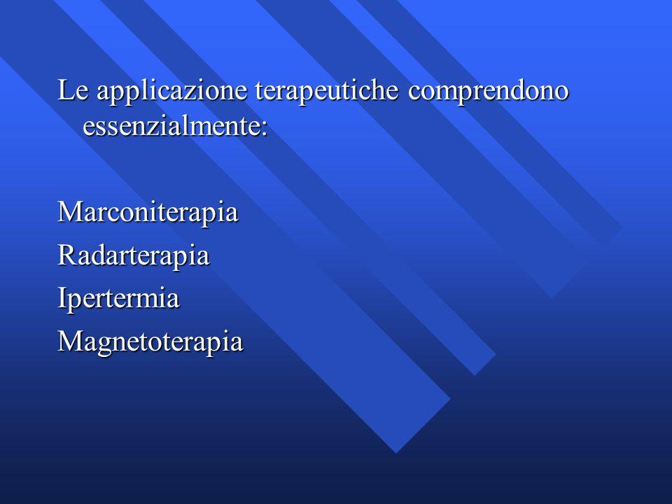 Le applicazione terapeutiche comprendono essenzialmente: