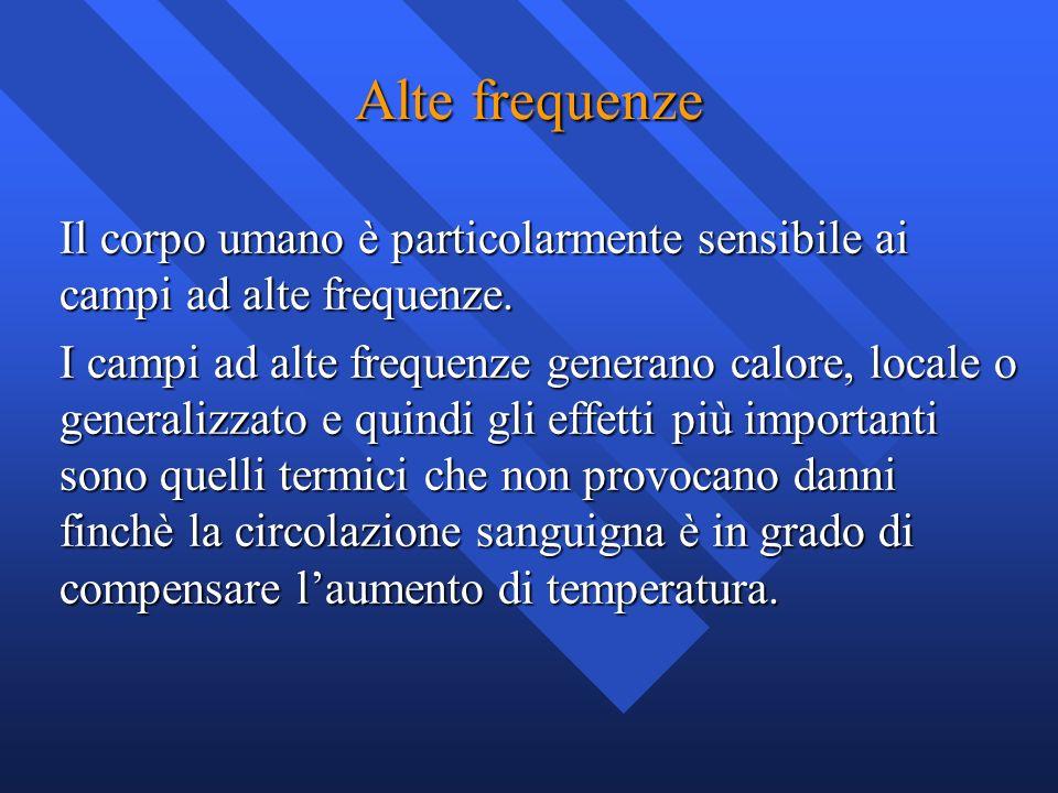 Alte frequenze Il corpo umano è particolarmente sensibile ai campi ad alte frequenze.