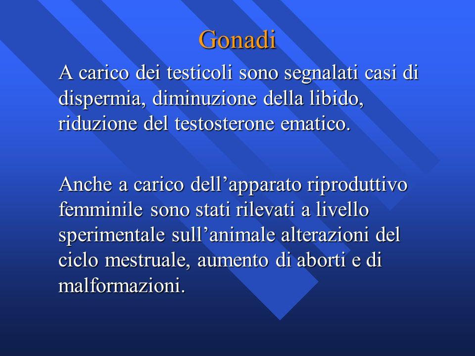 Gonadi A carico dei testicoli sono segnalati casi di dispermia, diminuzione della libido, riduzione del testosterone ematico.