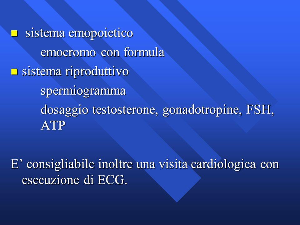 sistema emopoietico emocromo con formula. sistema riproduttivo. spermiogramma. dosaggio testosterone, gonadotropine, FSH, ATP.