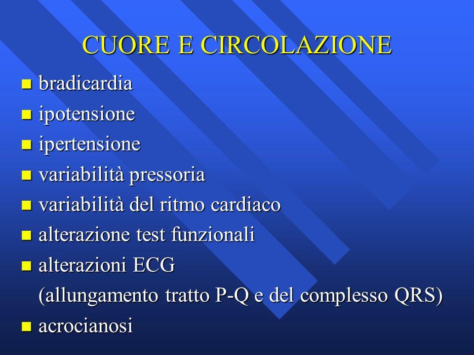 CUORE E CIRCOLAZIONE bradicardia ipotensione ipertensione
