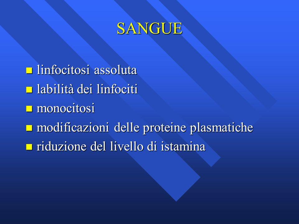 SANGUE linfocitosi assoluta labilità dei linfociti monocitosi