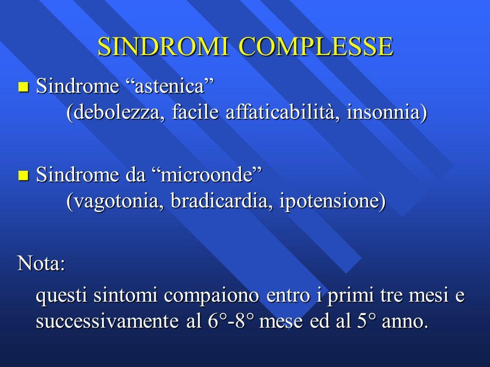 SINDROMI COMPLESSE Sindrome astenica (debolezza, facile affaticabilità, insonnia)