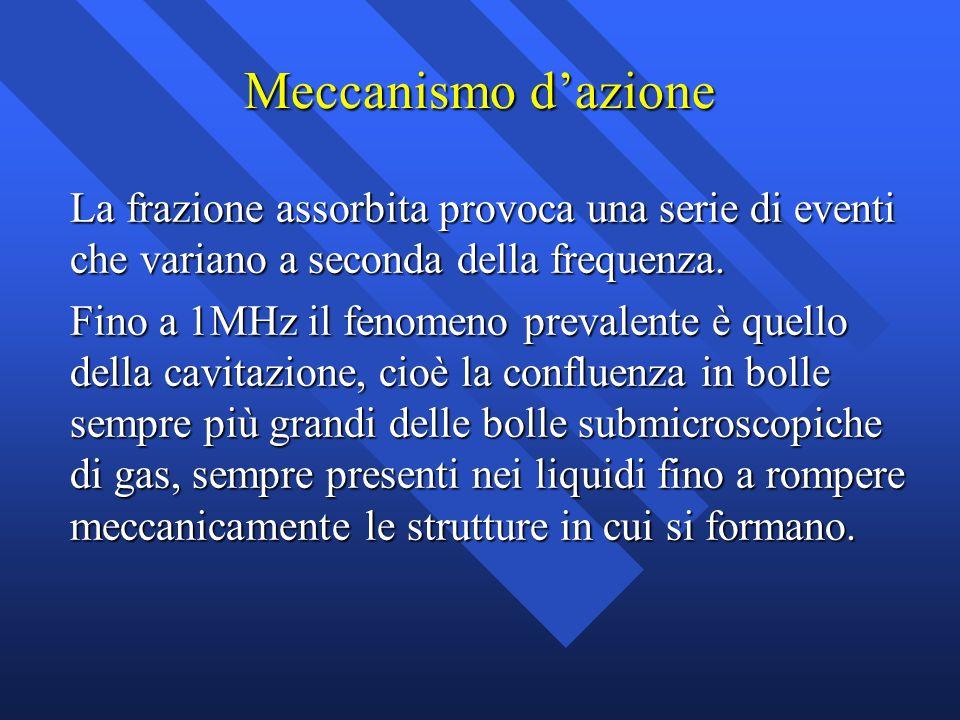 Meccanismo d'azione La frazione assorbita provoca una serie di eventi che variano a seconda della frequenza.