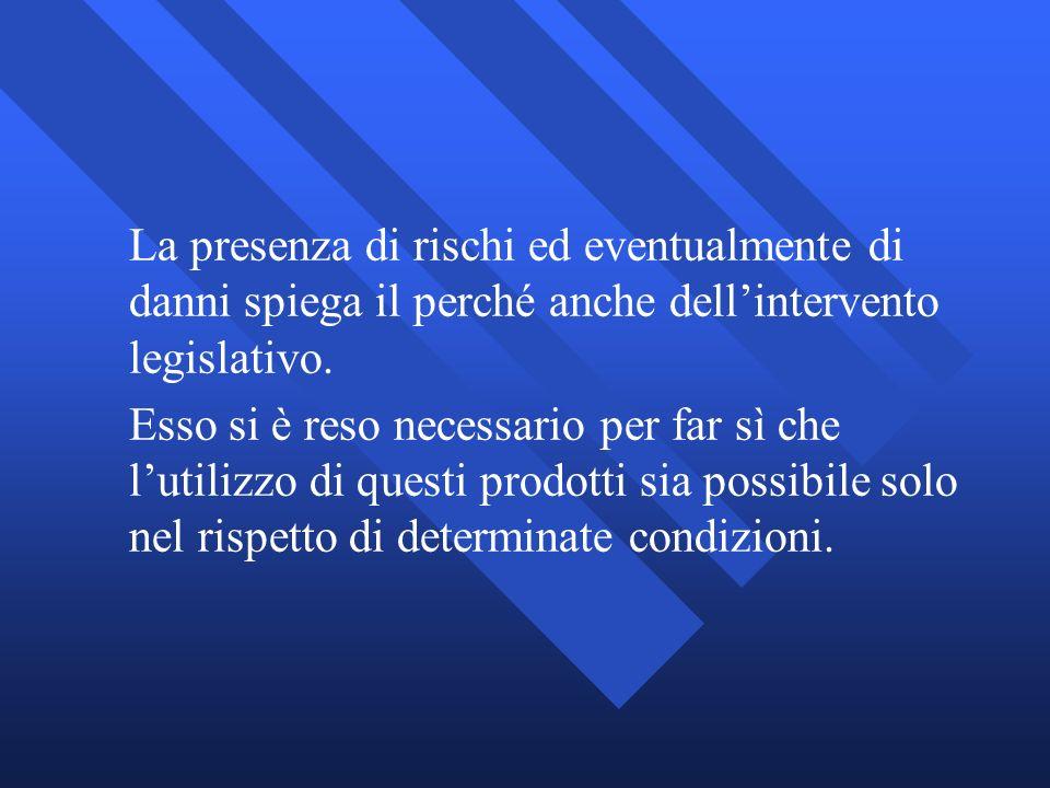 La presenza di rischi ed eventualmente di danni spiega il perché anche dell'intervento legislativo.