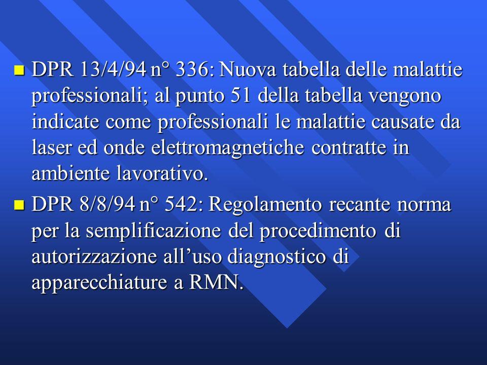 DPR 13/4/94 n° 336: Nuova tabella delle malattie professionali; al punto 51 della tabella vengono indicate come professionali le malattie causate da laser ed onde elettromagnetiche contratte in ambiente lavorativo.