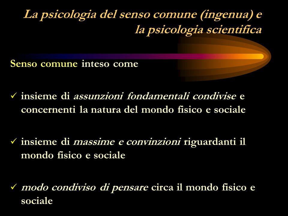 La psicologia del senso comune (ingenua) e la psicologia scientifica
