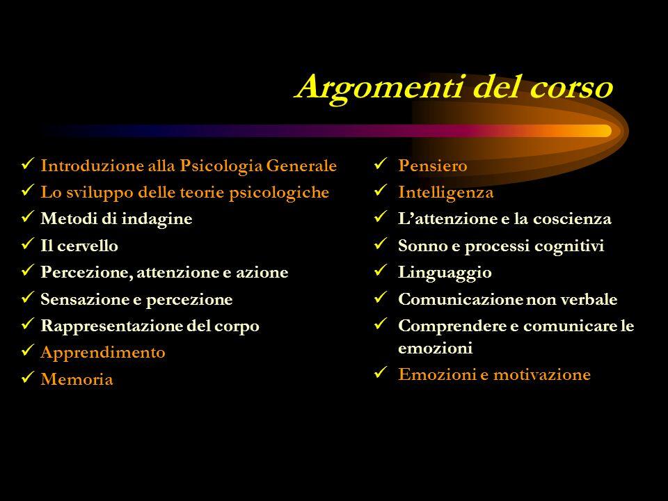 Argomenti del corso Introduzione alla Psicologia Generale