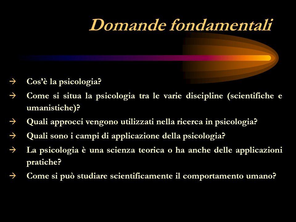 Domande fondamentali Cos'è la psicologia