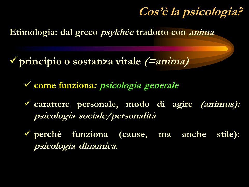 Cos'è la psicologia principio o sostanza vitale (=anima)