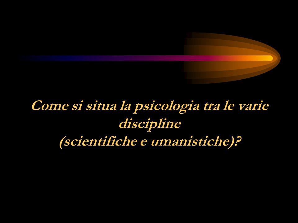 Come si situa la psicologia tra le varie discipline (scientifiche e umanistiche)