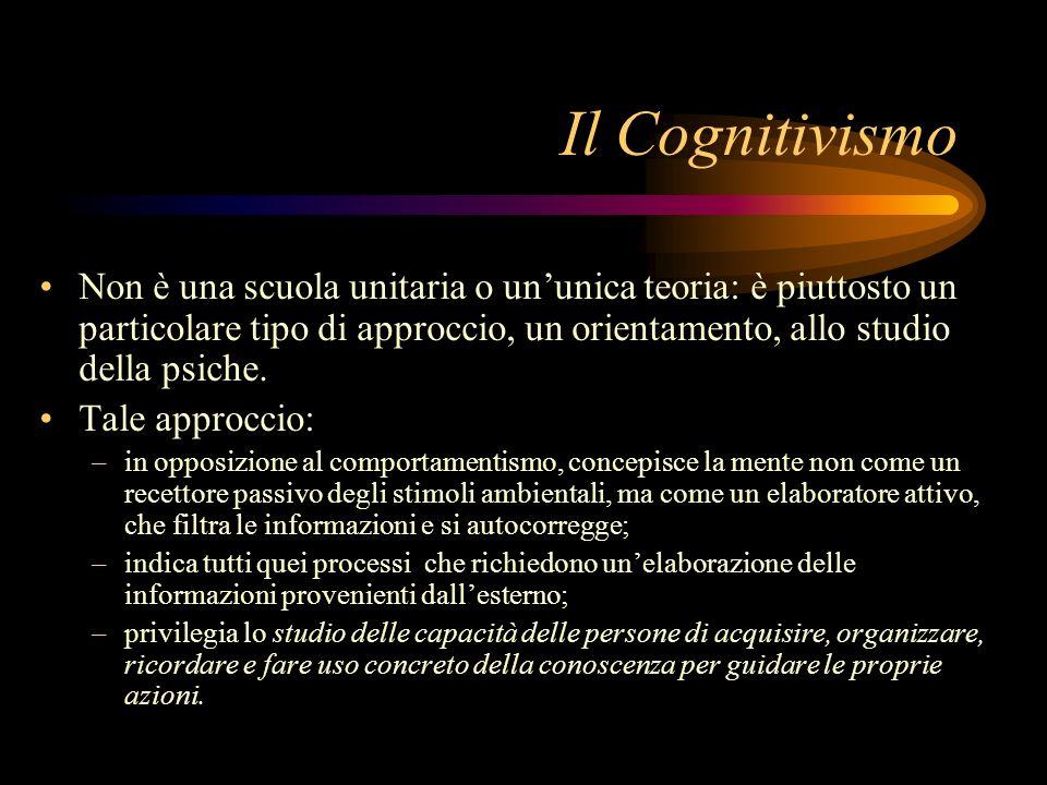 Il Cognitivismo Non è una scuola unitaria o un'unica teoria: è piuttosto un particolare tipo di approccio, un orientamento, allo studio della psiche.