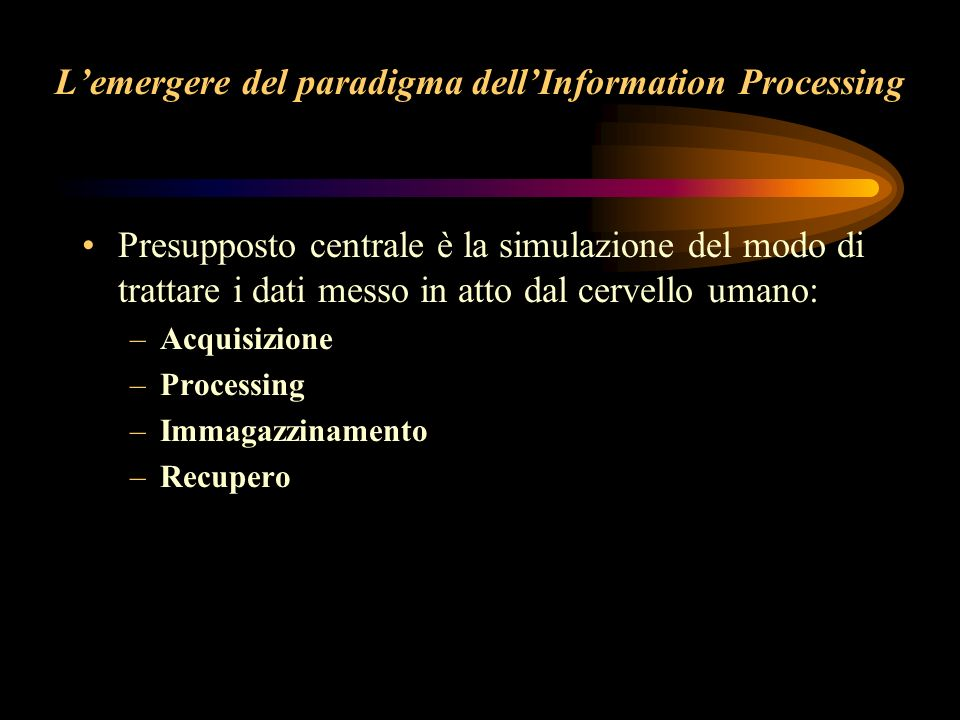 L'emergere del paradigma dell'Information Processing